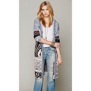FREE PEOPLE Hooded Americana Print Long Cardigan
